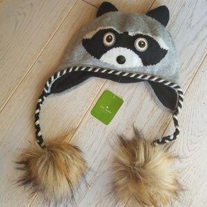 KATE SPADE Raccoon Night Creatures Earflap Hat